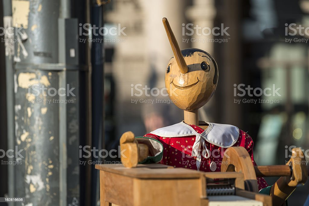 Music box with Pinocchio royalty-free stock photo