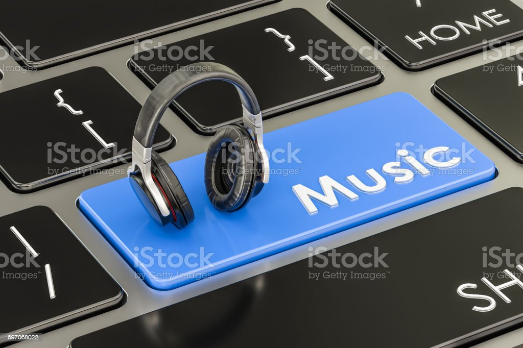 Music button, blue key on keyboard with headphones. 3D rendering stock photo