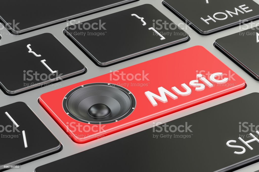 Music button, red key on  keyboard. 3D rendering stock photo