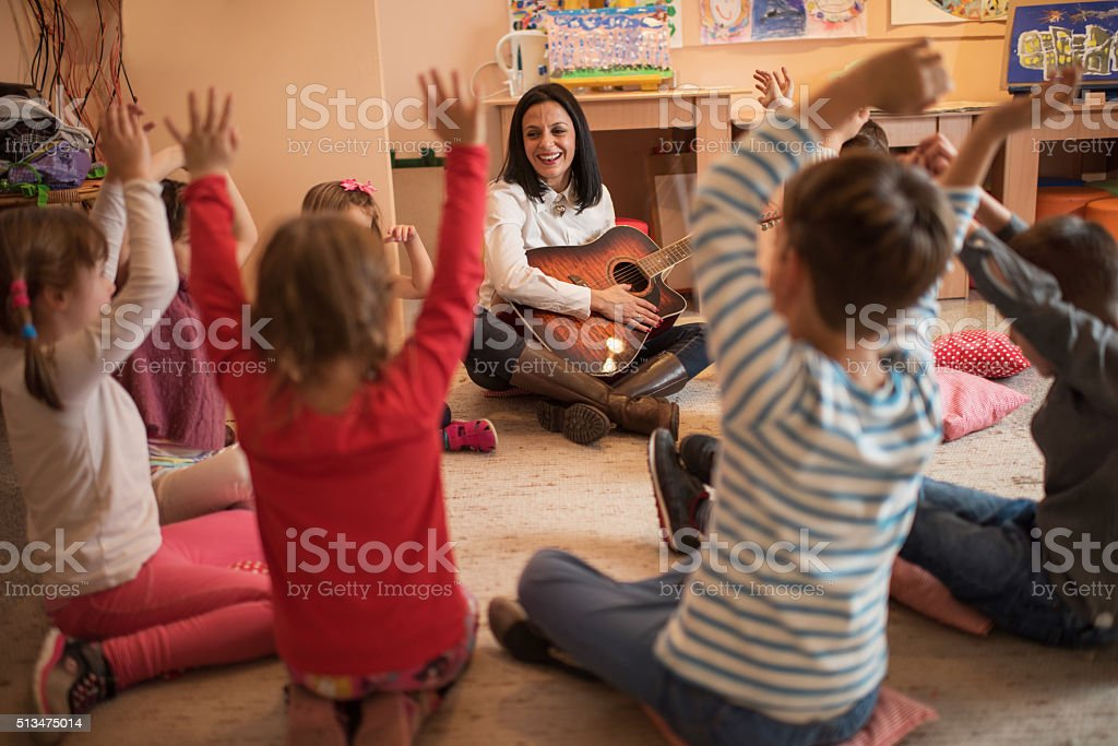 Music class in a preschool! stock photo