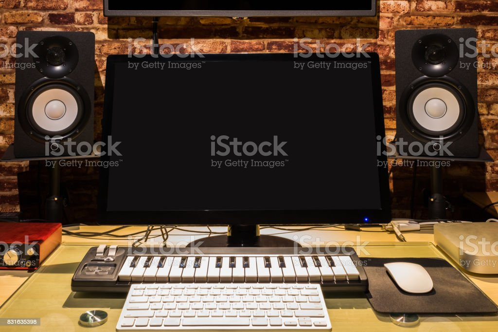 music computer technology & audio & visual digital home entertainment equipment in modern lifestyle stock photo