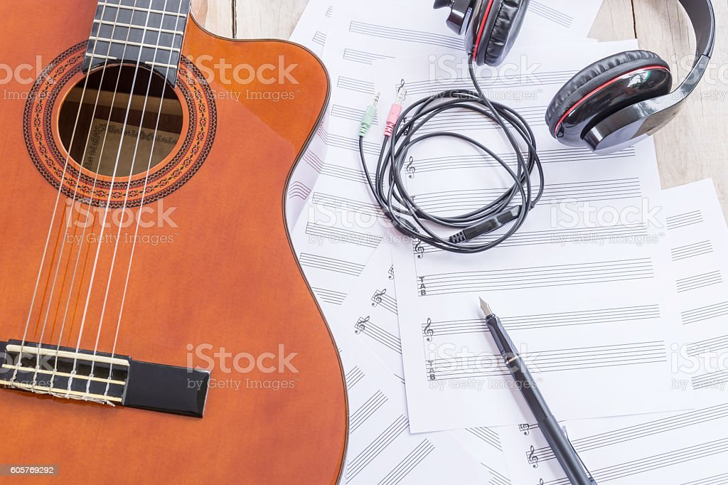 music concept on wooden stock photo