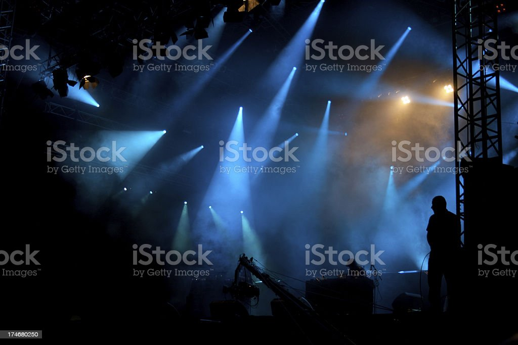 Music concert with blue stage lights royalty-free stock photo