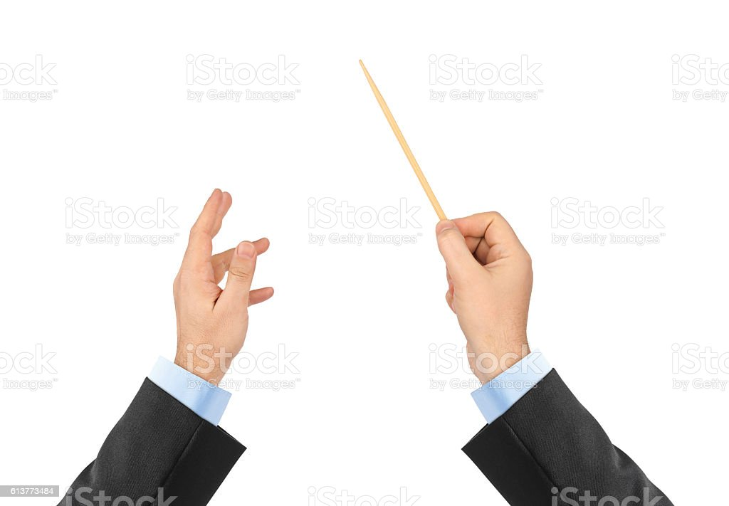 Music conductor hands stock photo
