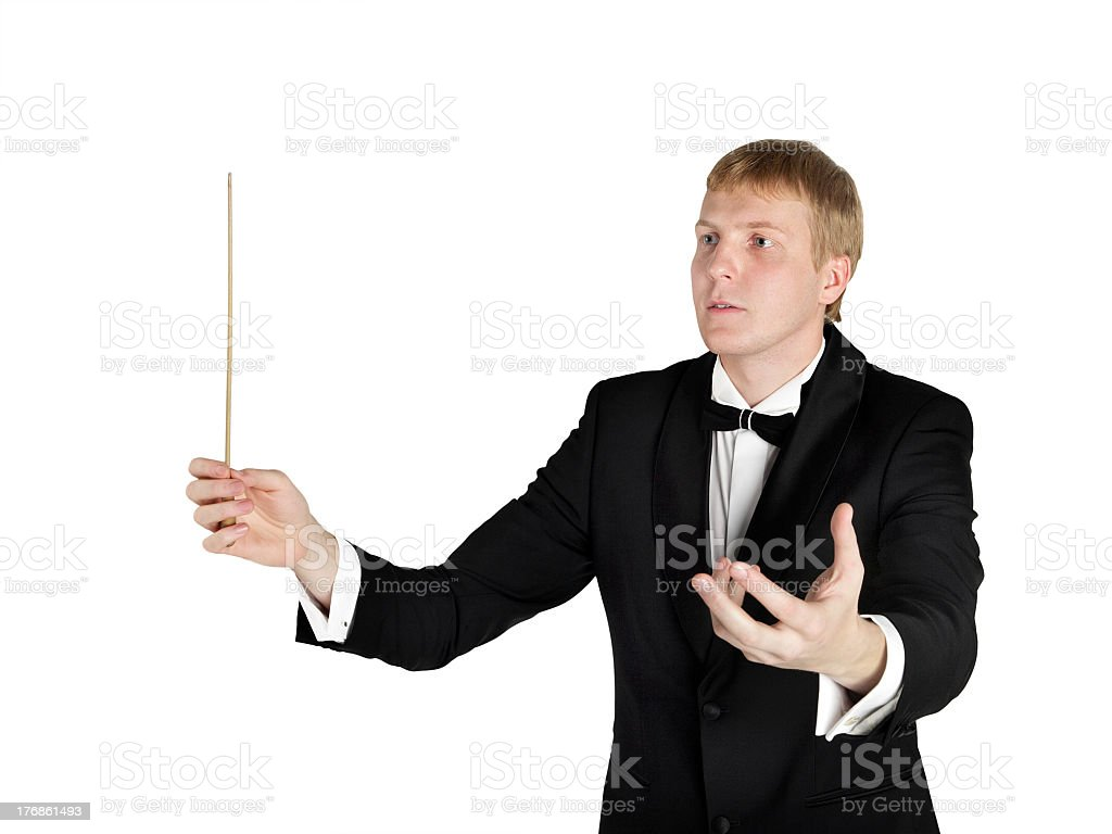 Music conductor on white stock photo
