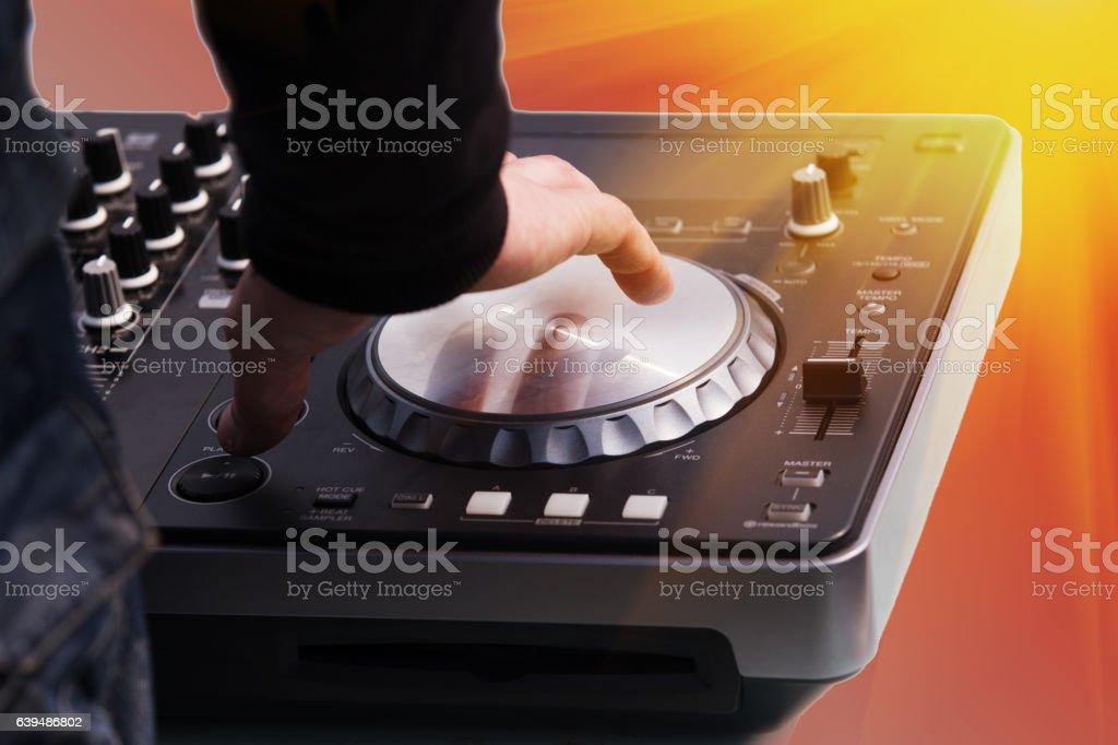 DJ music controls panel stock photo