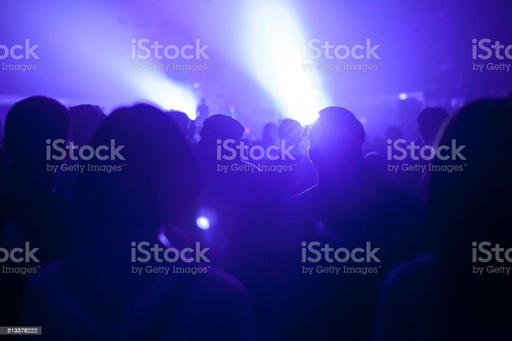 Music crowd silhouette in music festival stock photo