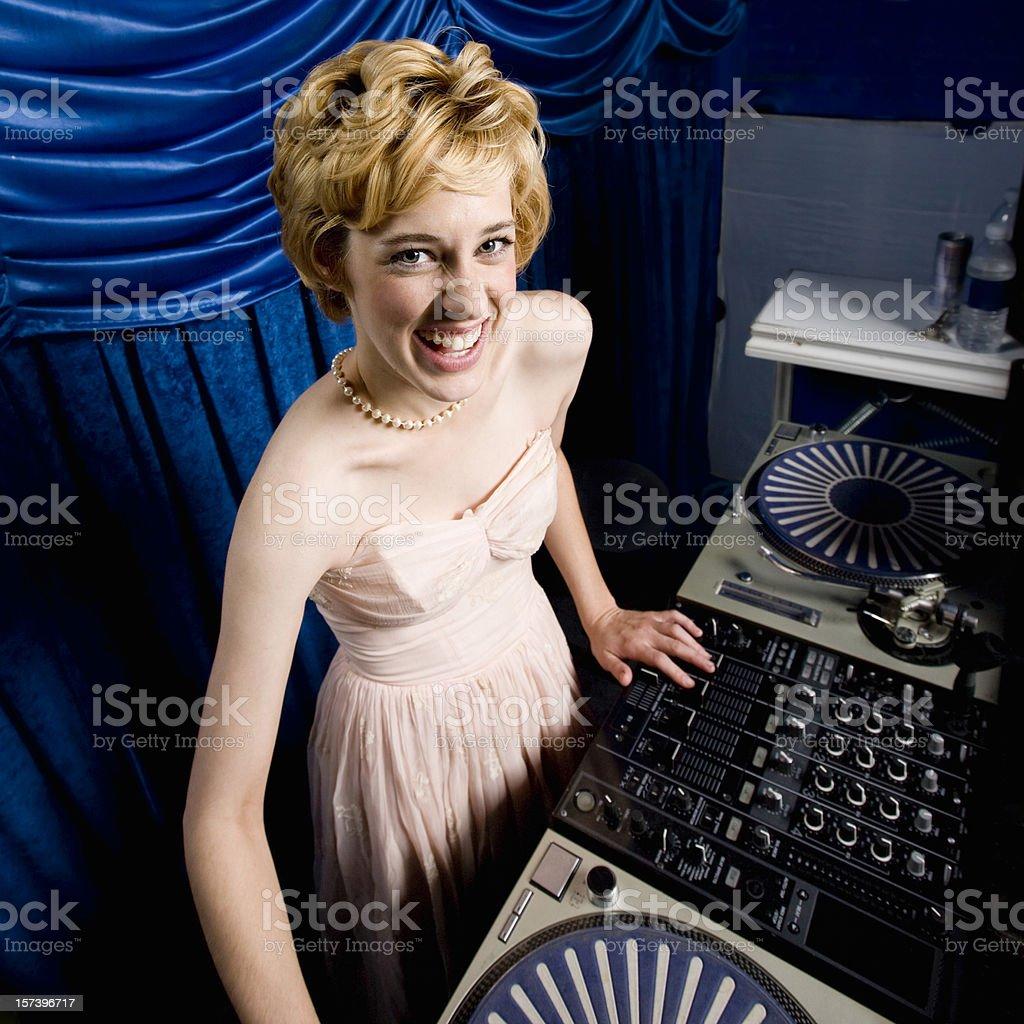 Music DJ - Young Woman having Fun stock photo