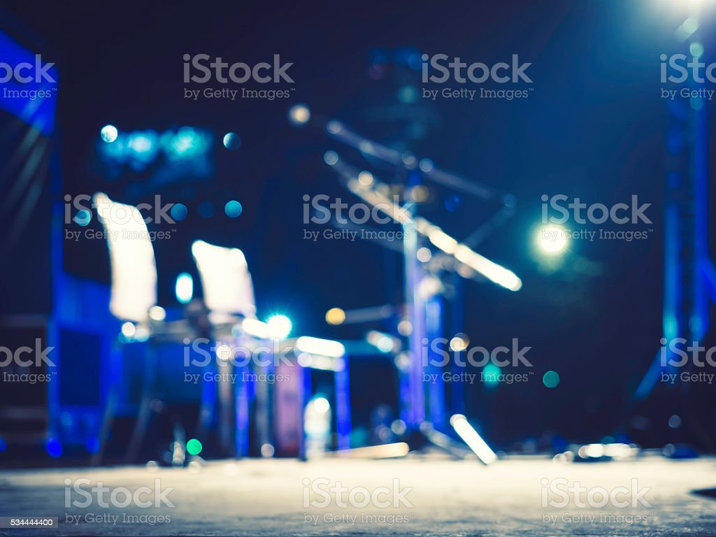 Music Festival Event Microphone on Concert Stage Blurred Background stock photo