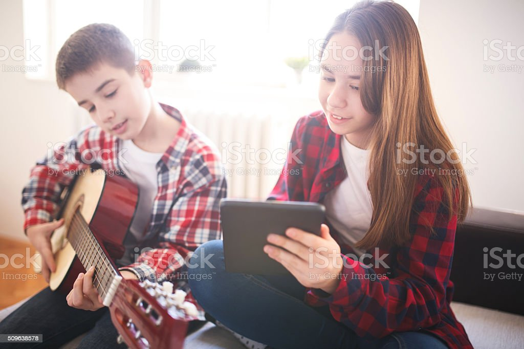 Music friends stock photo
