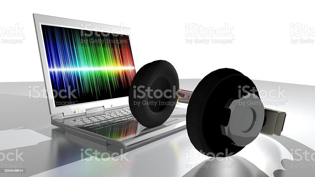 Music, headphones and laptop computer stock photo
