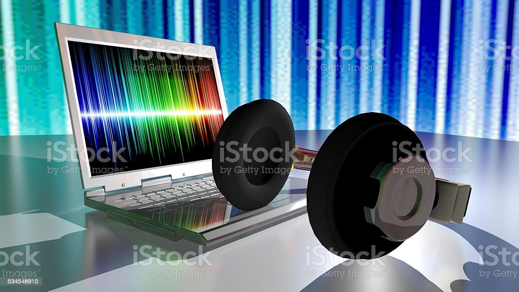 Music, headphones and laptop computer stock photo