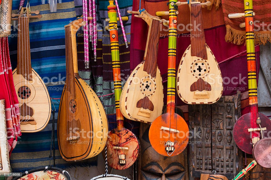music instruments on a market in marrakech stock photo
