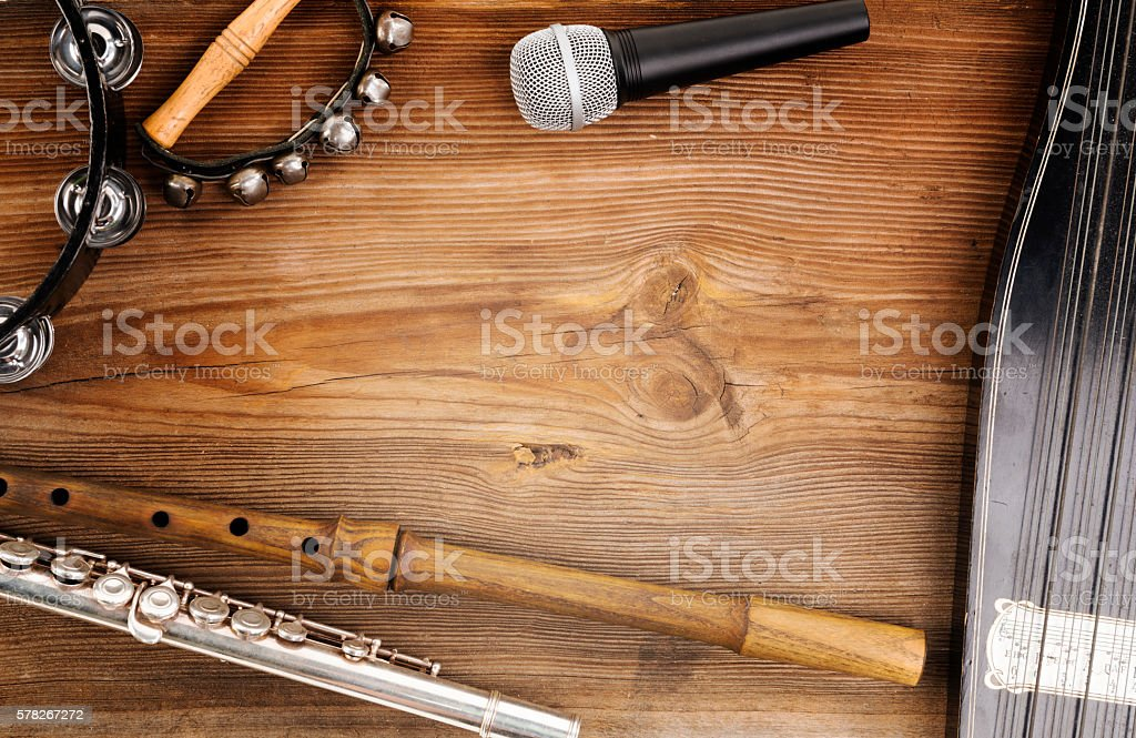 music instruments on wood stock photo