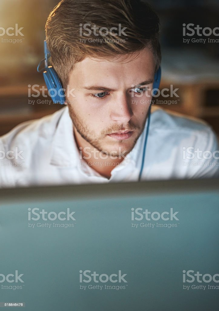 Music keeps him going stock photo