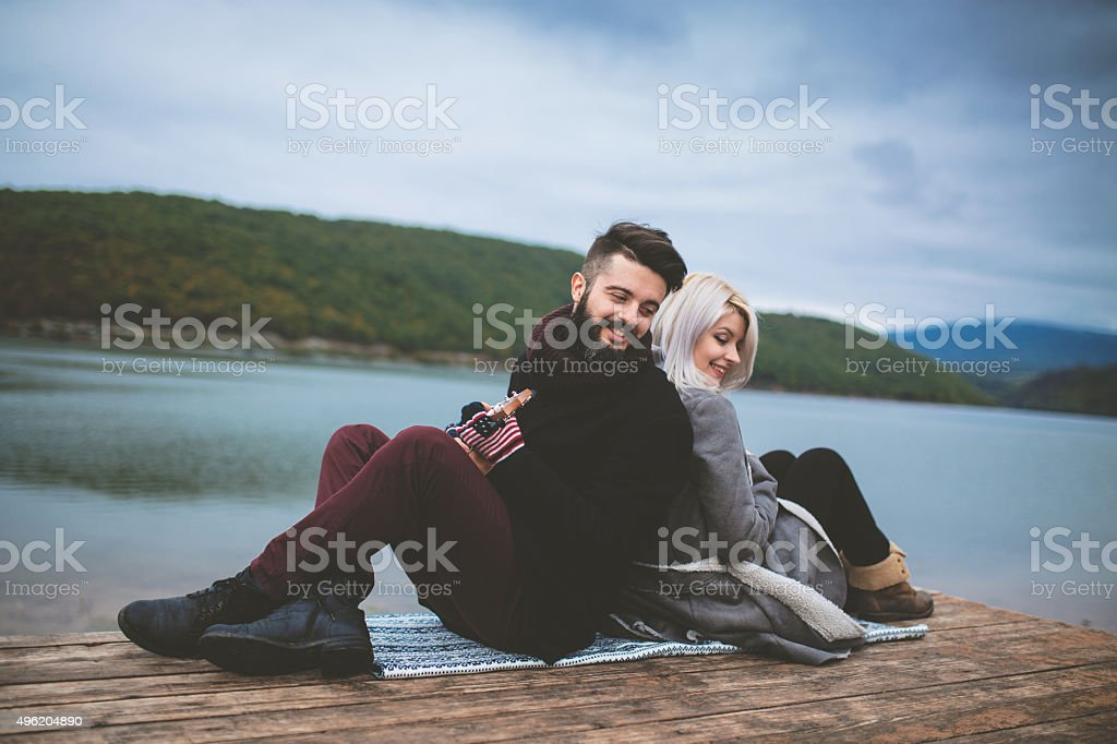 Music lovers enjoy in nature stock photo