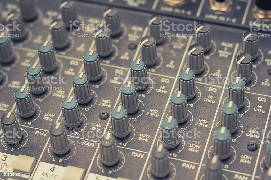 music mixer - studio equipment macro stock photo