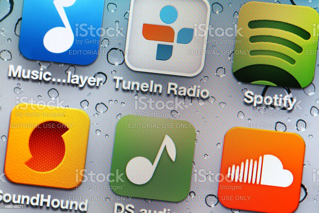 Music mobile application stock photo