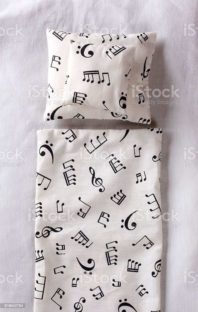 Music note bed sheet stock photo