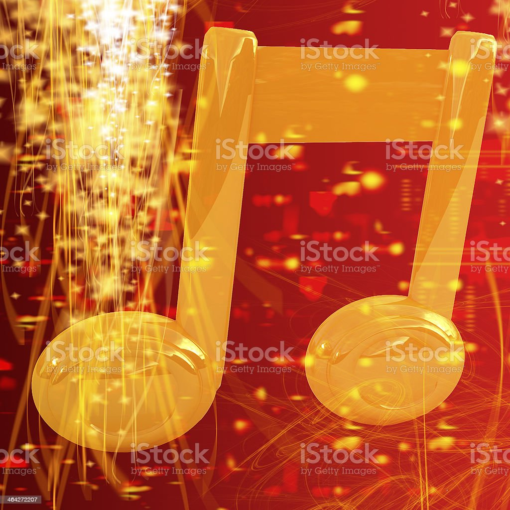 Music note on red fantasy background stock photo