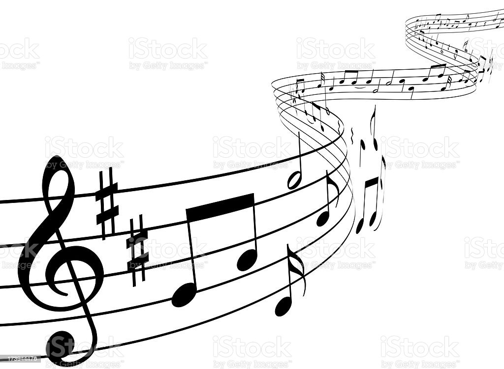 Music notes dancing away stock photo