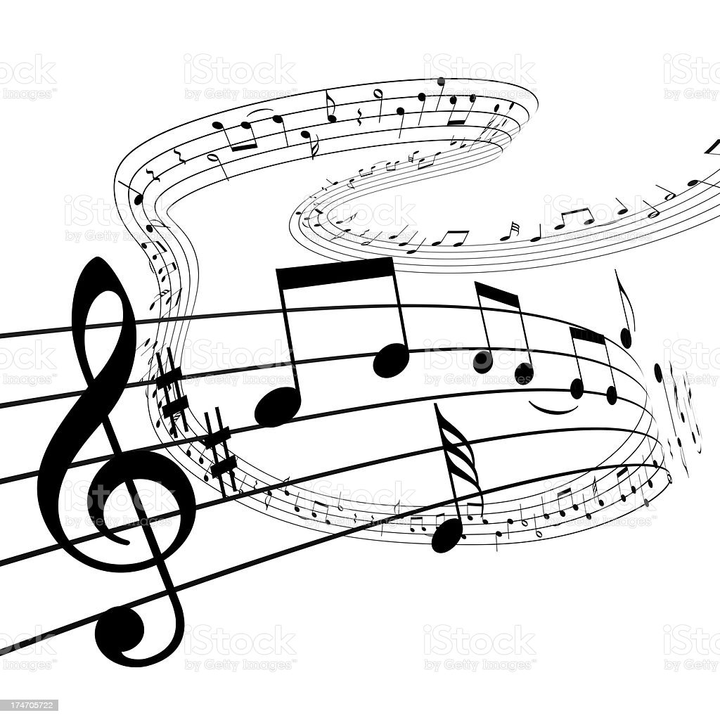 Music notes dancing away royalty-free stock photo