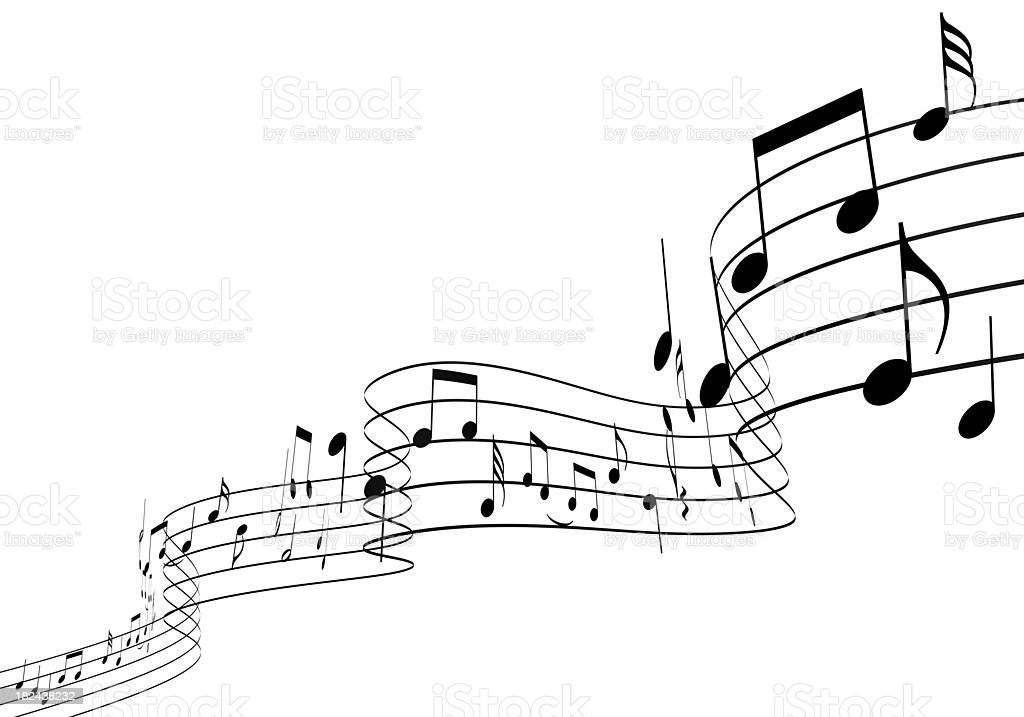 3D Music notes dancing upwards royalty-free stock photo