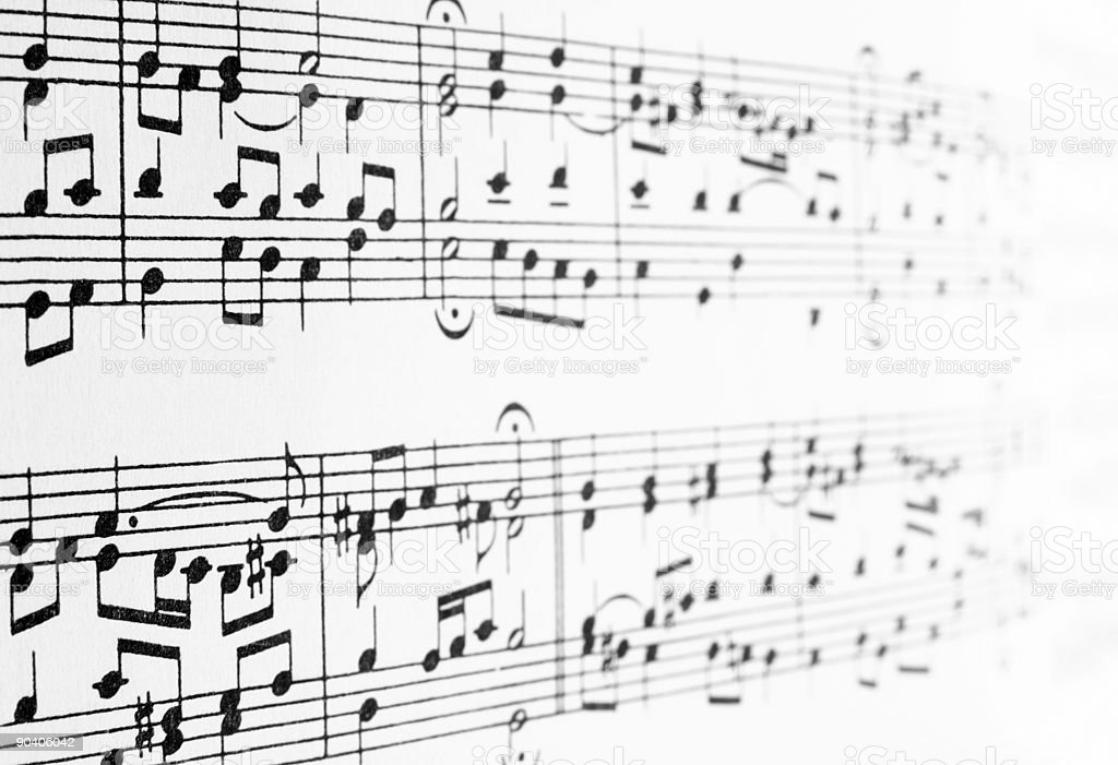 Music notes disappearing in the distance royalty-free stock photo