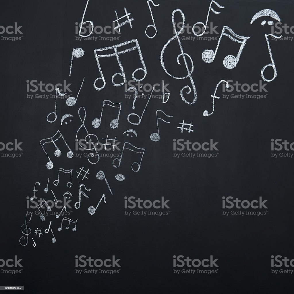 Music notes on blackboard royalty-free stock photo