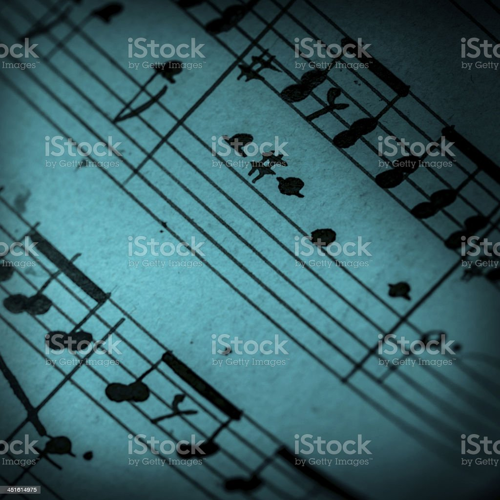 Music notes on blue stock photo