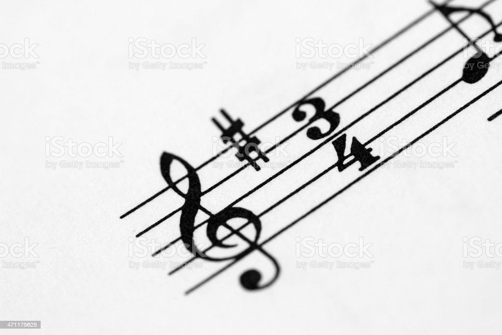 Music notes on paper royalty-free stock photo