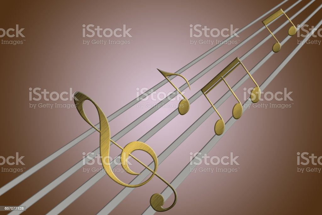 Music notes playing in some guitar strings'n stock photo