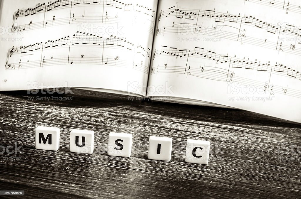 Music notes sheet and letters saying 'music' royalty-free stock photo