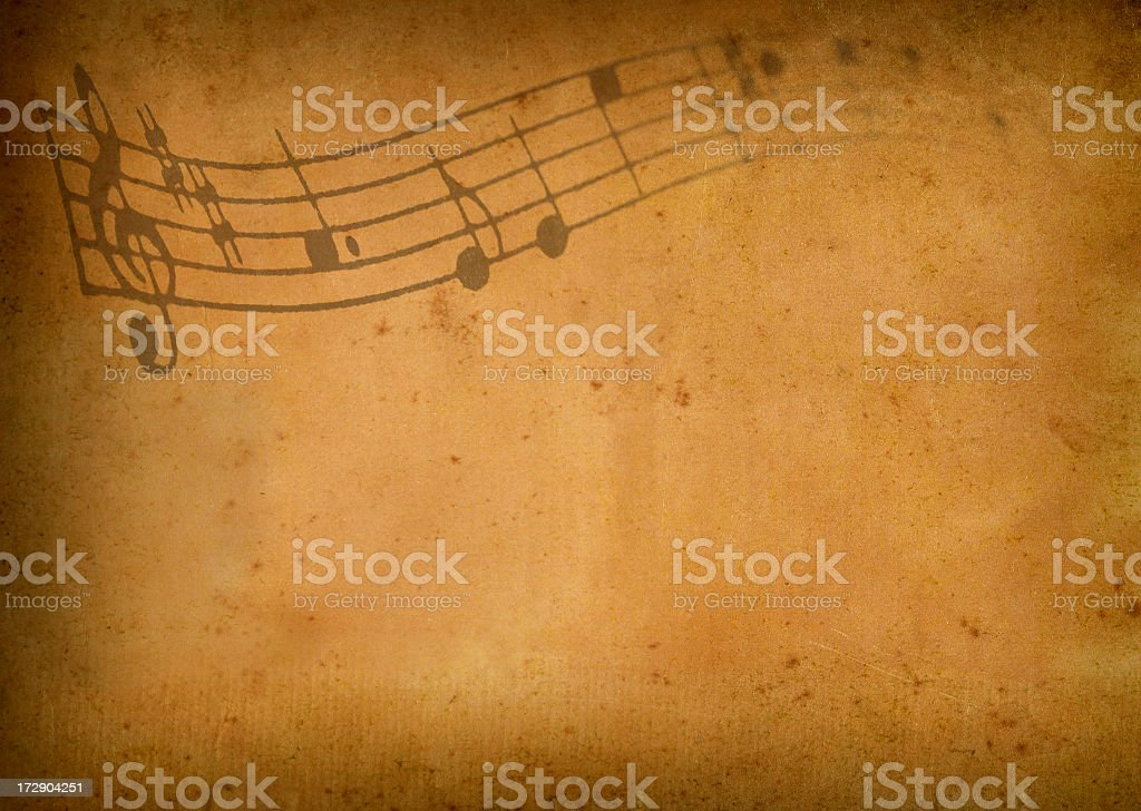 Music on antique paper royalty-free stock photo