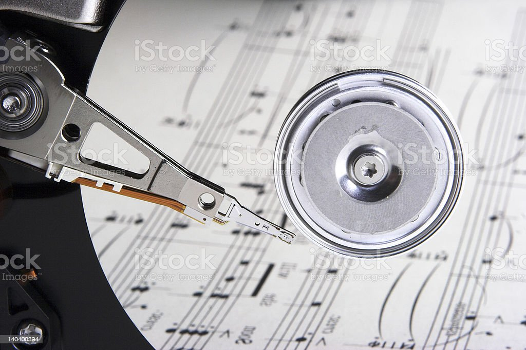 music on hard disk royalty-free stock photo
