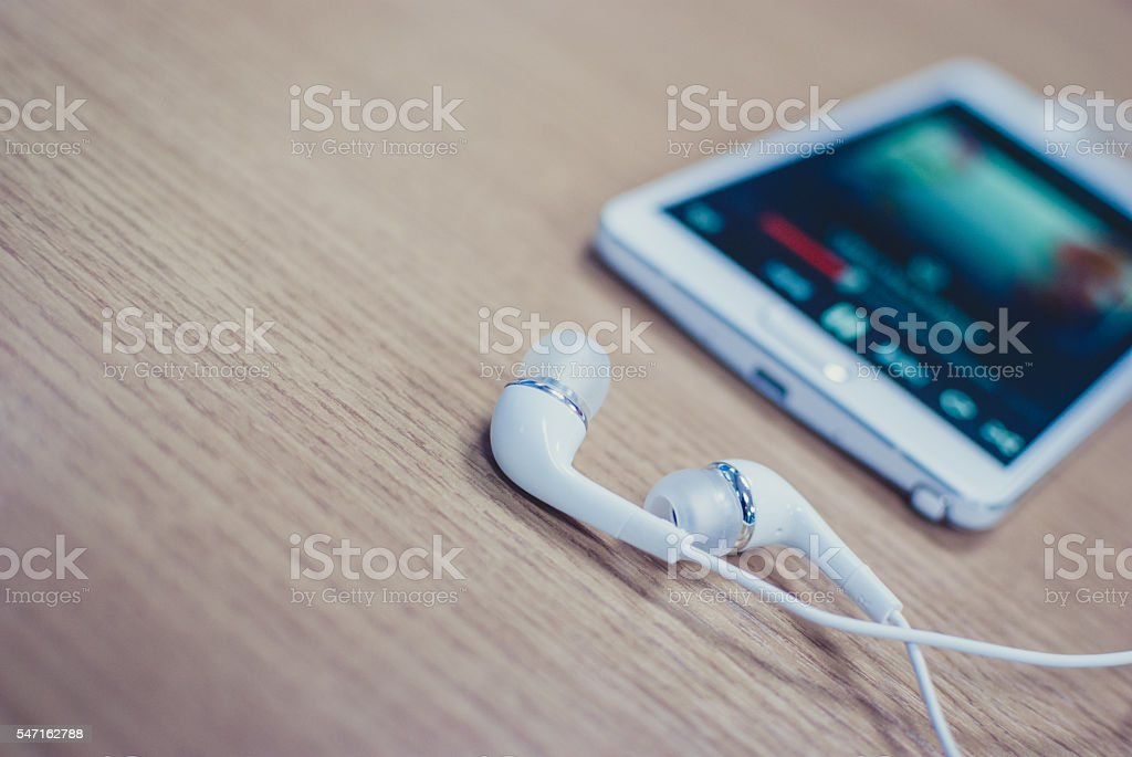 Music on the smartphone stock photo