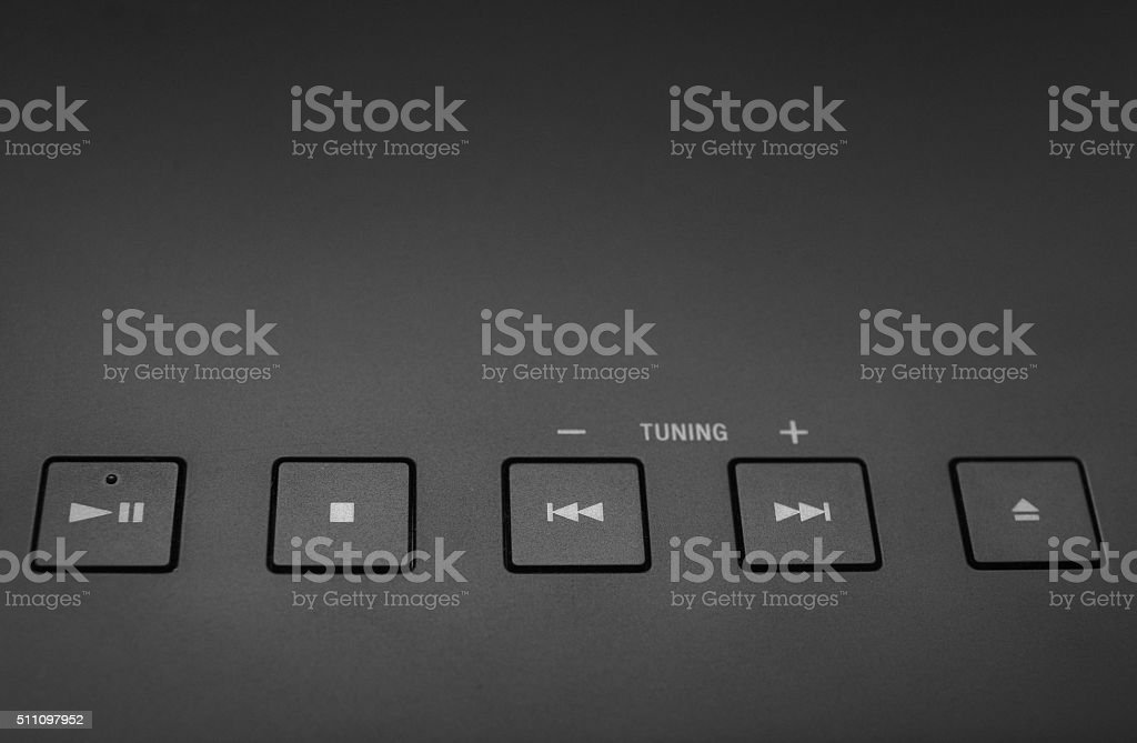 music play buttons stock photo