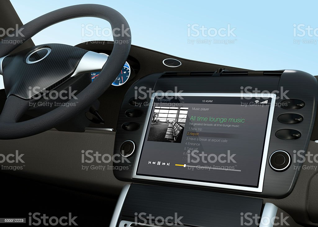Music player app for car entertainment system stock photo