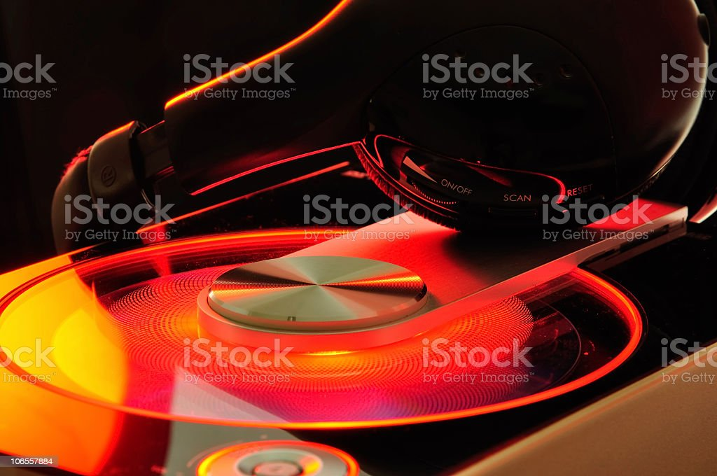 Music player headphones stock photo