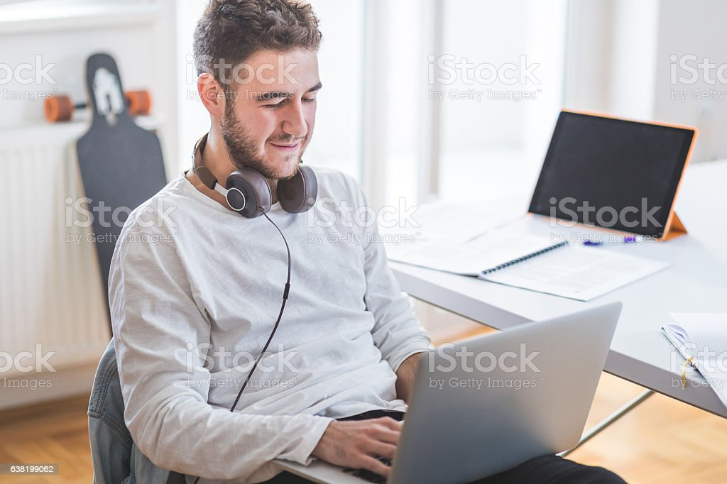 Music producer stock photo