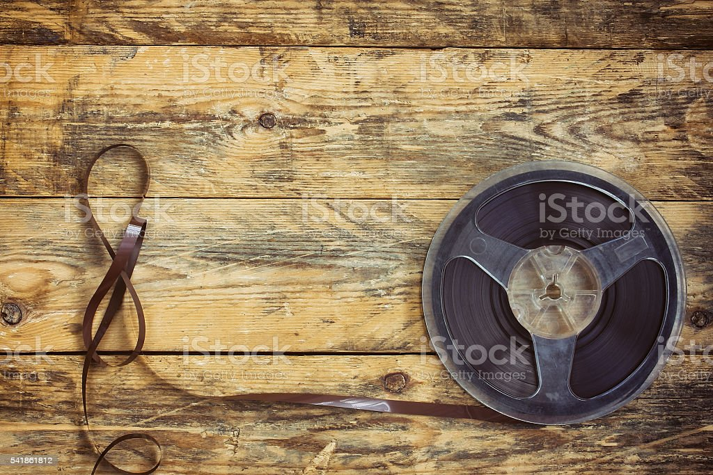 music recorder reel with tape stock photo