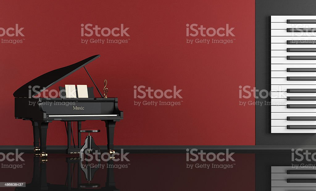 music room with grand piano stock photo