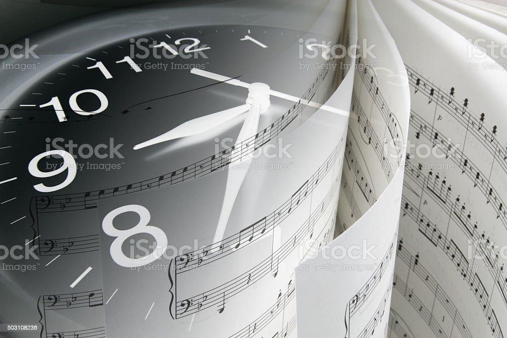 Music Score and Clock stock photo