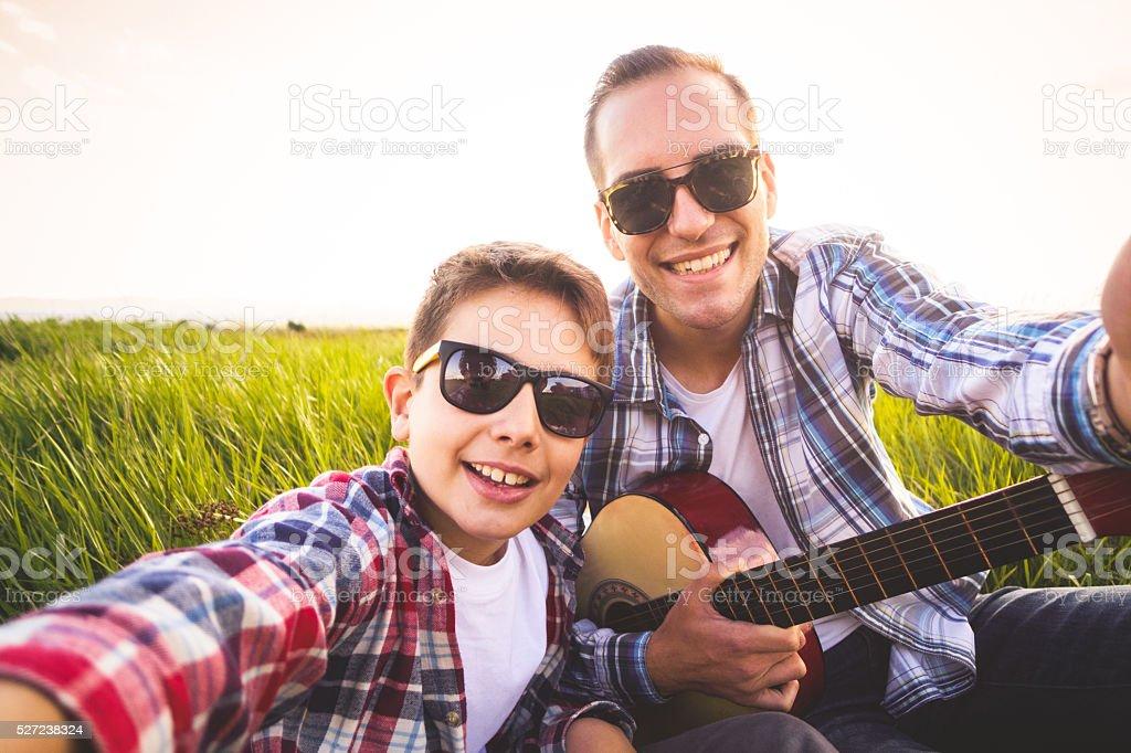 Music selfie stock photo