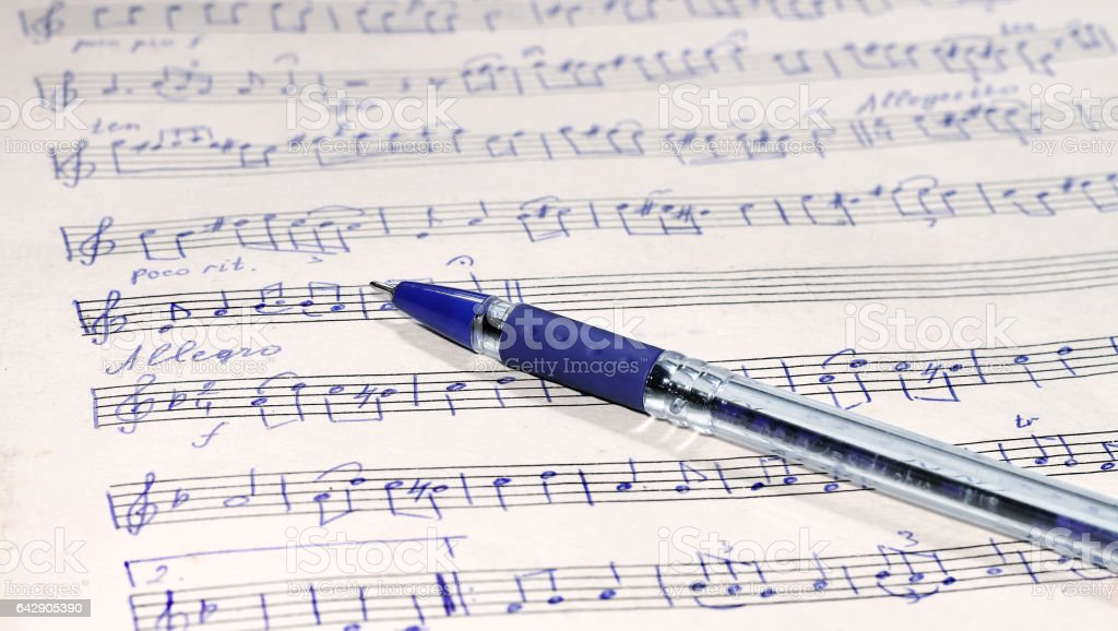 Music sheet and pen stock photo