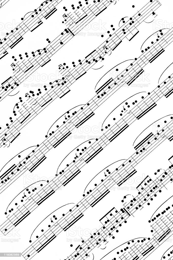 Music Sheet, Black and White Image royalty-free stock photo
