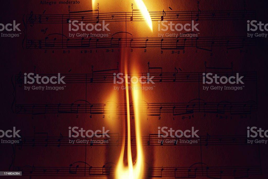 Music sheet (Burning) stock photo