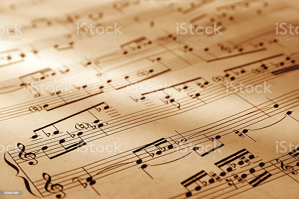 A music sheet portraying a song and the symbols used stock photo