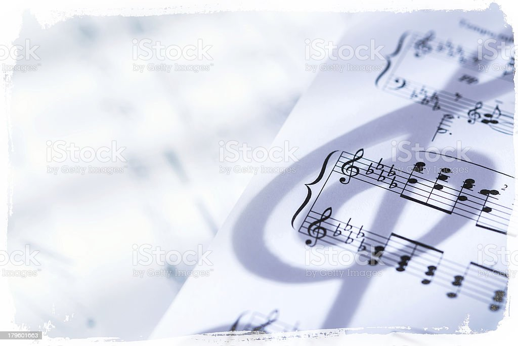 Music sheet with grunge frame royalty-free stock photo