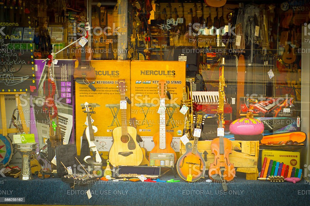 Music shop window stock photo